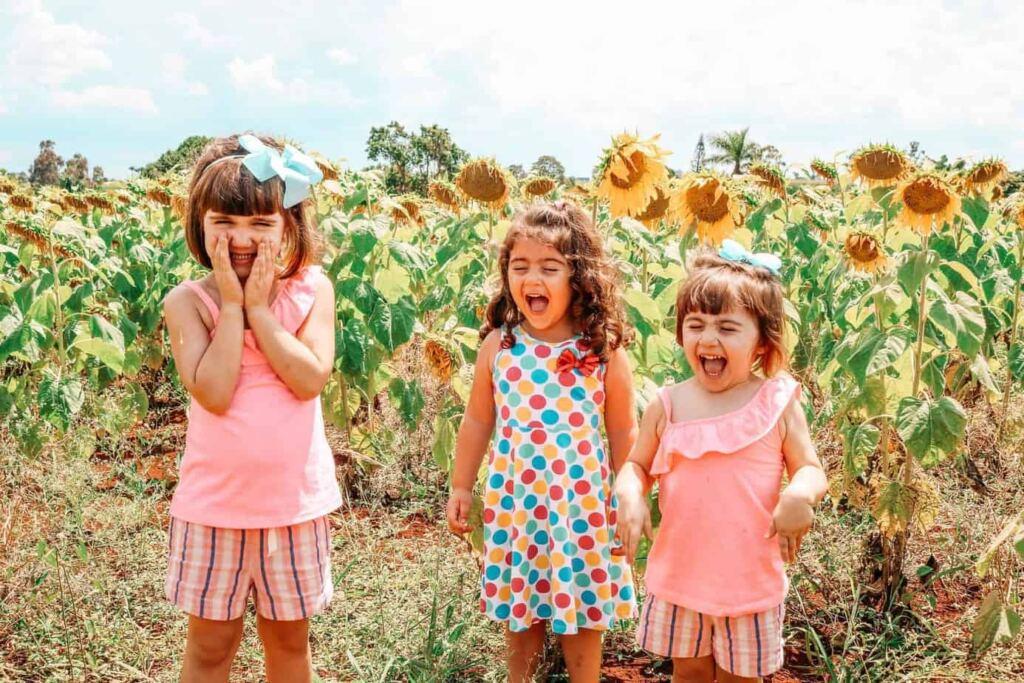 Crianças em um campo de girassóis. Texto sobre pensão alimentícia.